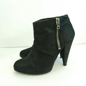 Zara Black Leather Side Zip Slouch Ankle Boots 7.5